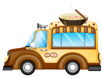 A vehicle selling soup. Illustration of a vehicle selling soup on a white background royalty free illustration