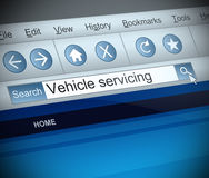 Vehicle serving concept. Illustration depicting a screen shot of a vehicle servicing internet search Stock Photo
