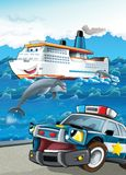 The vehicle and the ship - illustration for the children Stock Image