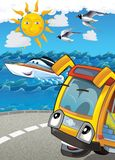 The vehicle and the ship - illustration for the children Stock Photo