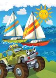 The vehicle and the ship - illustration for the children Royalty Free Stock Photo