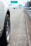 Vehicle side view standing on highway route, closeup Royalty Free Stock Image
