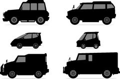 Vehicle Silhouette Set Royalty Free Stock Images