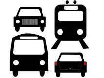 Vehicle silhouettes. Front views of  bus train and car Stock Photo