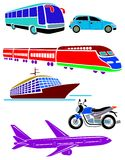 Vehicle silhouettes. Isolated line art various vehicle silhouettes Royalty Free Stock Image