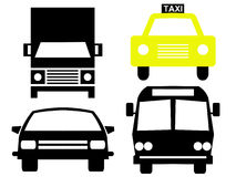 Vehicle silhouettes. Bus truck car and taxi Royalty Free Stock Photos
