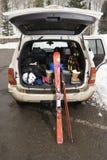 Vehicle with ski equipment. Stock Image