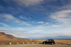 Vehicle in South Area, Iceland Royalty Free Stock Images