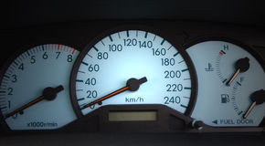 Vehicle speedometer. A front view of car speedometer royalty free stock images