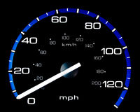 Vehicle Speedometer. Speedometer of a vehicle.  Isolated on a black background Stock Photography