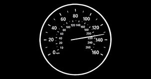 Vehicle speedometer going to max speed through the gears and limiting at 160mph, black and white stock video footage