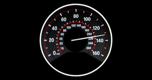 Vehicle speedometer going to max speed through the gears and limiting at 160mph, vibrating as it get faster stock video