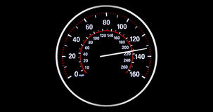 Vehicle speedometer going to max speed through the gears and limiting at 160mph, white and red stock footage