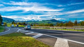 Vehicle On Street With Natural Scenery royalty free stock images