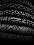 Vehicle tires on black Stock Image