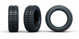 Vehicle tires. (3d rendering, isolated on white and clipping path Royalty Free Stock Photography