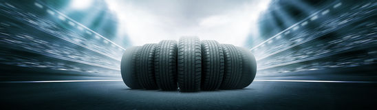 Vehicle tires on the track arena Royalty Free Stock Photos