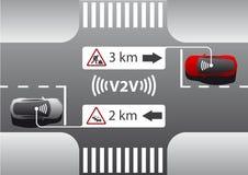 Vehicle to vehicle communication. stock illustration