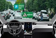 Vehicle to vehicle communication. Self driving car on a road. Vehicle to vehicle communication. Data exchange between cars stock image