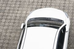 Vehicle top view - Cars in the parking view. From above stock photo