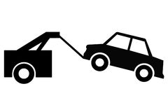 Vehicle towing sign royalty free illustration