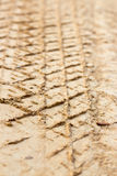 Vehicle track on dirt, depth of field effect Royalty Free Stock Images