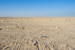 Vehicle tracks through an arid desert Stock Images