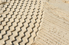 Vehicle tracks in sand, Dubai Royalty Free Stock Photos