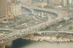 Vehicle Traffic on `6th of October Bridge` - Cairo Royalty Free Stock Images