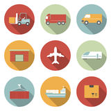 Vehicle, transport and logistics flat icons. Vehicle, transport and logistics vector flat icons Stock Photos