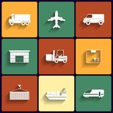 Vehicle, transport and logistics vector flat icons. Royalty Free Stock Image