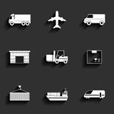 Vehicle, transport and logistics vector flat icons. Stock Image