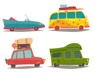 Vehicle transport for travel vector set. Car for family weekend trip, Cabriolet, Motorhome. Vehicle transport for travel vector set. Cartoon style illustration Royalty Free Stock Images