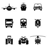 Vehicle transport vector signs. Set. Car and ship icons, train and truck symbols Stock Image
