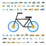 Vehicle and Transportation icon set. Vehicle and Transportation flat icon set. Vector flat design illustration Stock Photo