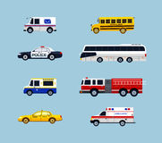 Vehicle Transportation - vector flat design icons set. Vehicle Transportation - modern vector flat design icons set. Mail, school bus, police car, taxi Royalty Free Stock Photo