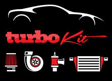 Vehicle turbo kit performance car parts icons set on black background. Vector illustration Royalty Free Stock Photography