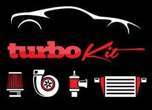 Vehicle turbo kit performance car parts icons set on black background Royalty Free Stock Photography