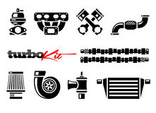 Vehicle turbo kit performance car parts icons set Stock Photos