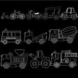 Vehicle types in white stripe. Cute vehicle types in white stripe style on black color background. In vector format Stock Images