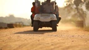Vehicle on village road at sun set. Vehicle on village road at sun rise stock video