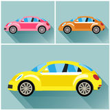 Vehicle volkswagen beetle style flet Royalty Free Stock Photo