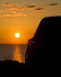 Vehicle Watching The Sunset Royalty Free Stock Image