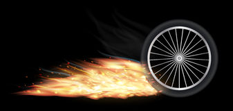 Vehicle wheel with fire burning Stock Photography