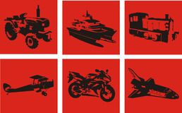 Vehicles 1. Six silhouettes of vehicles on a red background Stock Photos