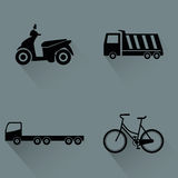 Vehicles. Abstract vehicles silhouettes on a gray background Stock Image