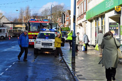 Vehicles at accident swanage dorset. Image 6 of 11 vehicles Emergency services aid AN 85-year old woman from Swanage who sustained very bad injuries when a car Royalty Free Stock Photography