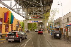Vehicles arriving and departing granville island, british columbia Stock Images
