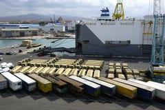 Vehicles awaiting loading Royalty Free Stock Photo