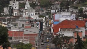 Vehicles circulating in the streets of the downtown of the city of Loja stock video